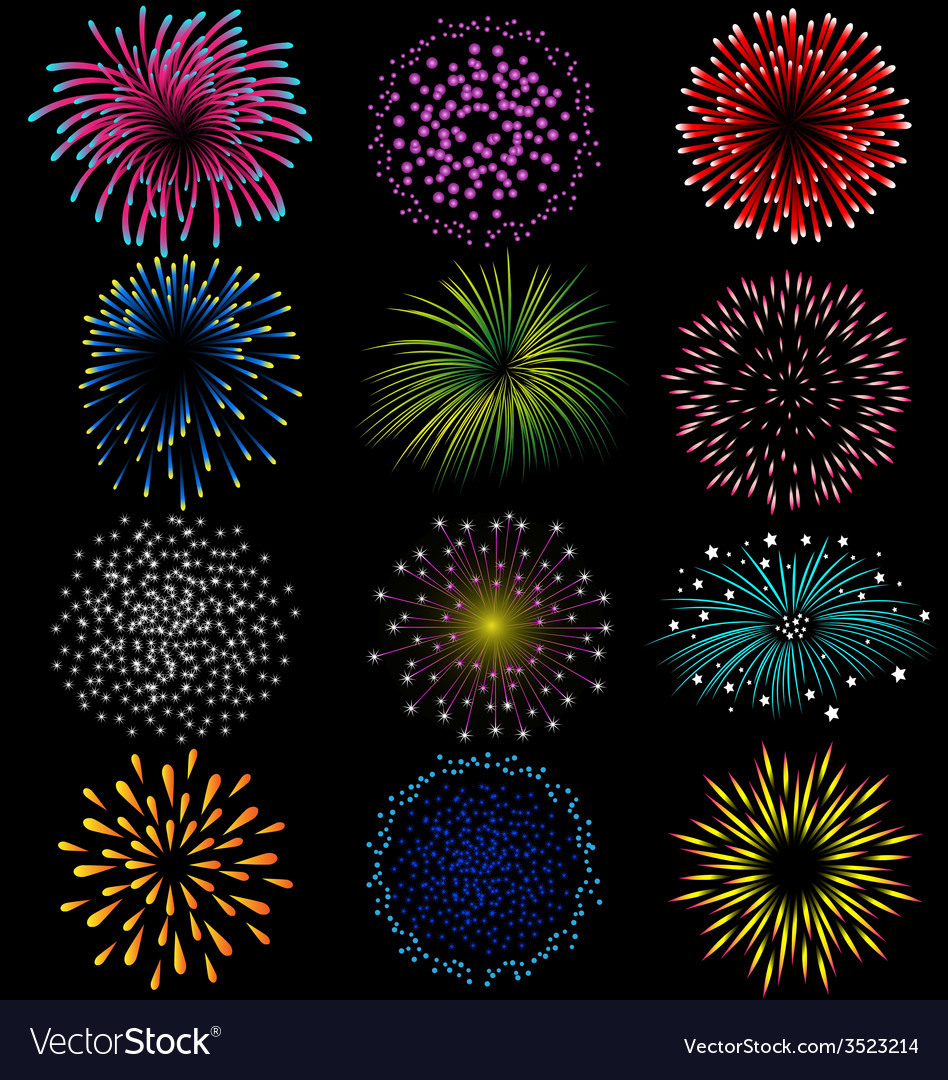 Fireworks set on black background vector | Price: 1 Credit (USD $1)