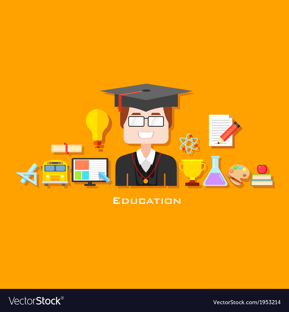 Graduate with education icon vector | Price: 1 Credit (USD $1)