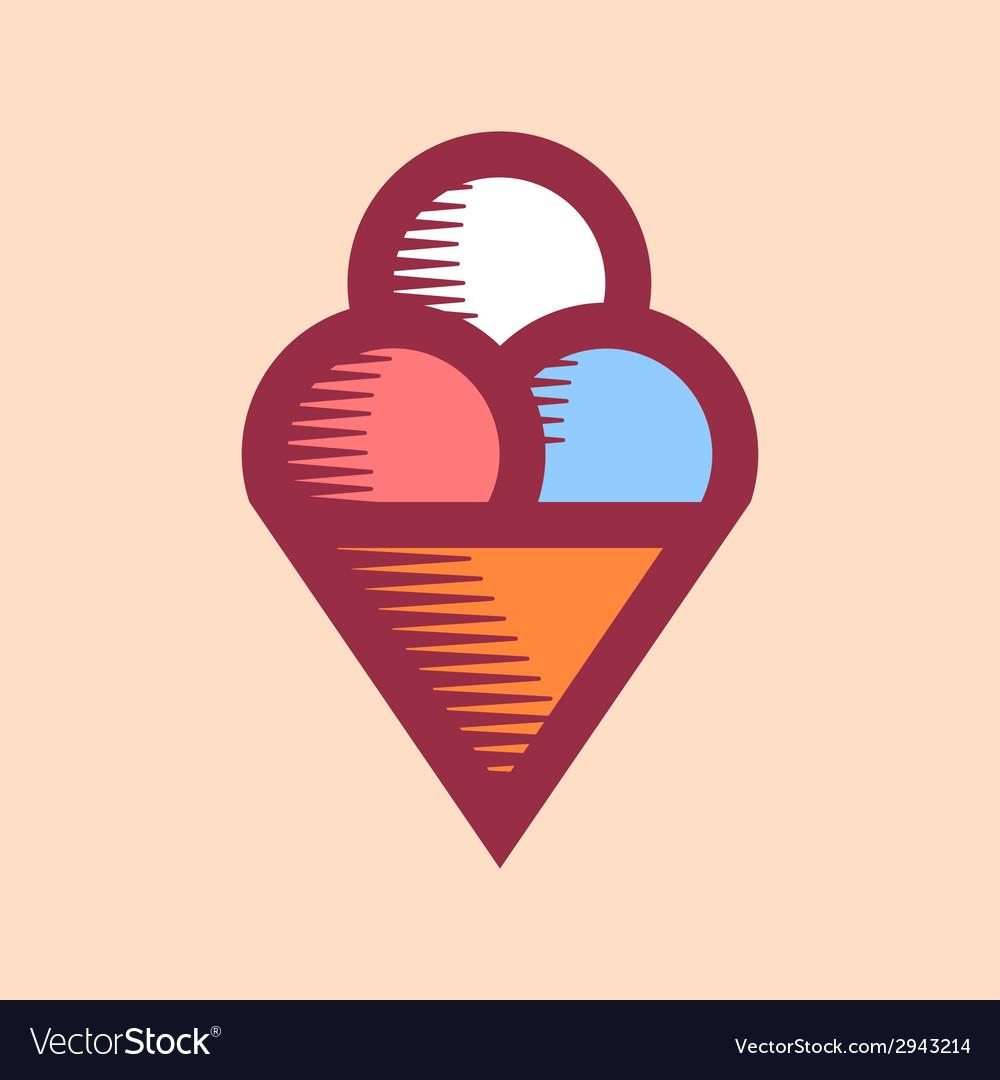 Ice cream icon vintage vector | Price: 1 Credit (USD $1)