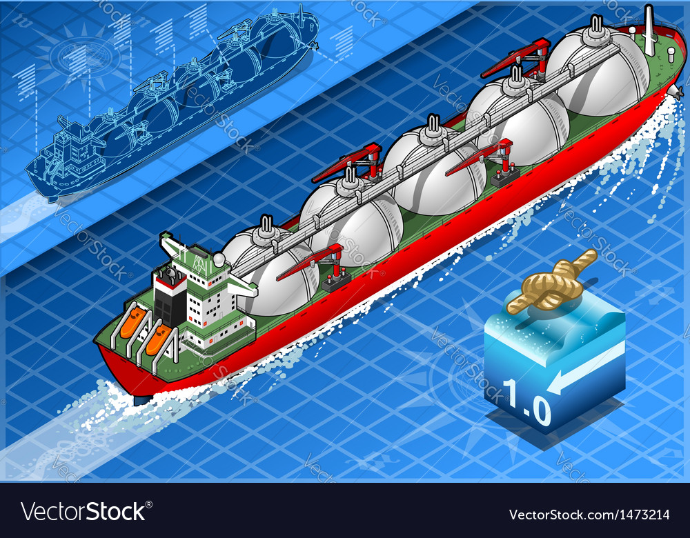 Isometric gas tanker ship in navigation vector | Price: 1 Credit (USD $1)