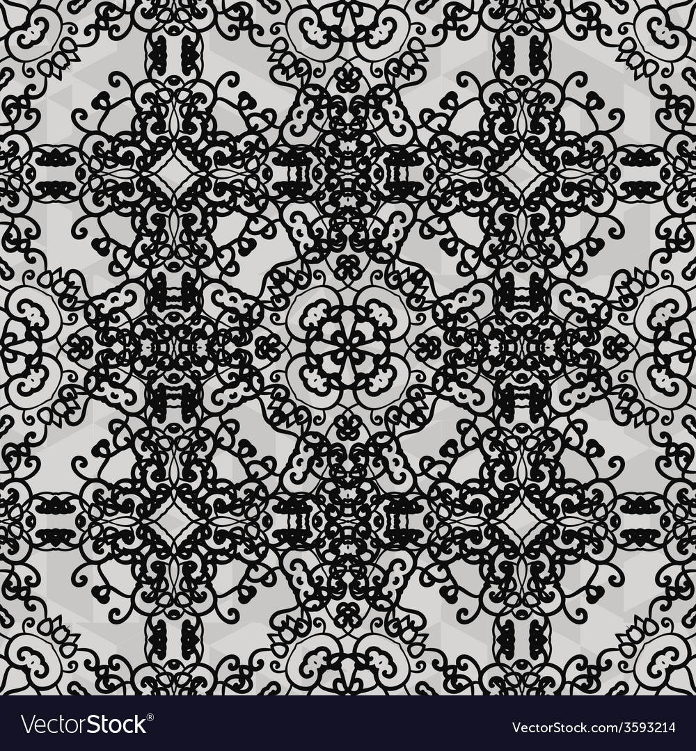 Monochrome ornament seamless stylized ornamental vector | Price: 1 Credit (USD $1)