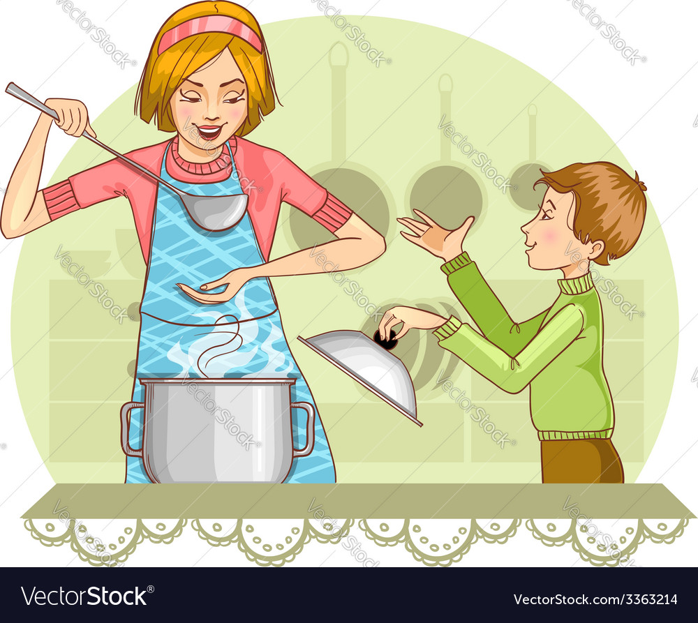 Mother and son tests food in the kitchen vector | Price: 3 Credit (USD $3)