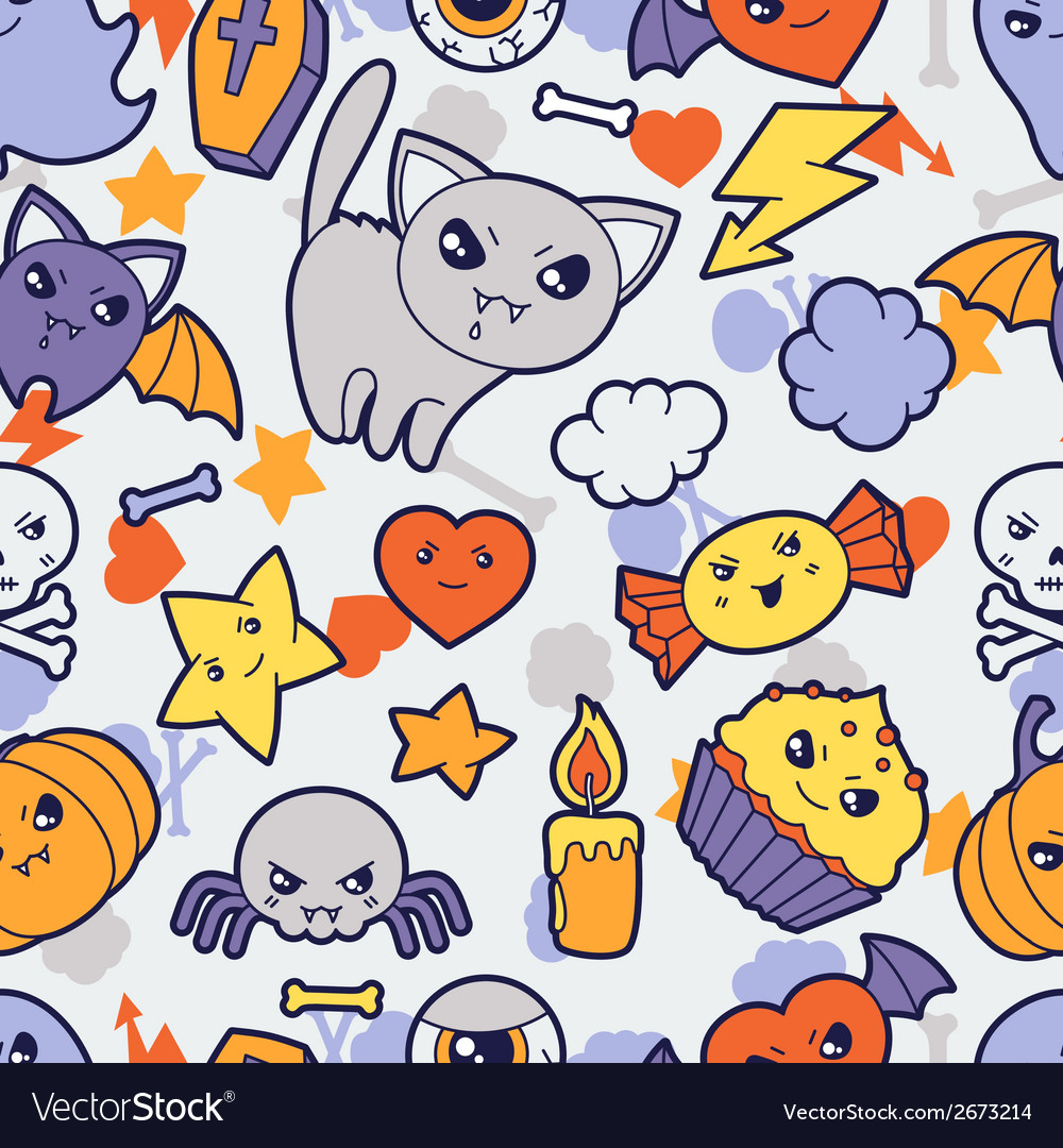 Seamless halloween kawaii pattern with cute vector | Price: 1 Credit (USD $1)