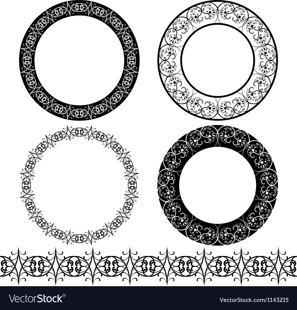 A set of black circular pattern stencil vector | Price: 3 Credit (USD $3)