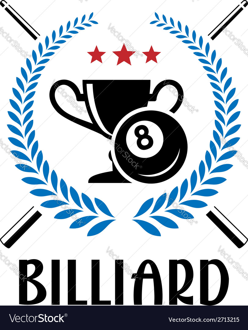 Billiard emblem with laurel wreath vector | Price: 1 Credit (USD $1)