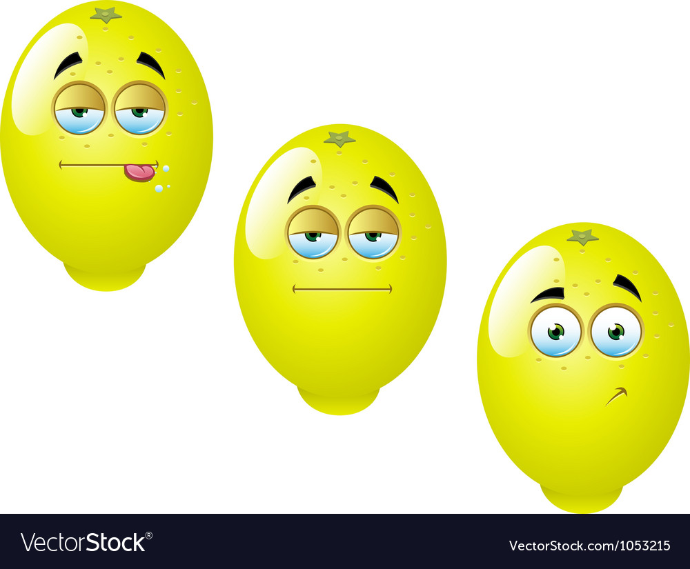Cartoon lemon fruit set 1 vector | Price: 1 Credit (USD $1)