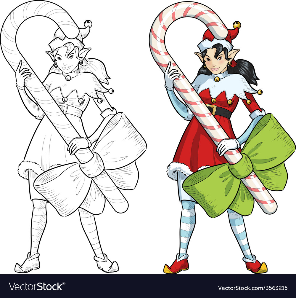 Christmas elf asian girl with candy lineart vector | Price: 1 Credit (USD $1)