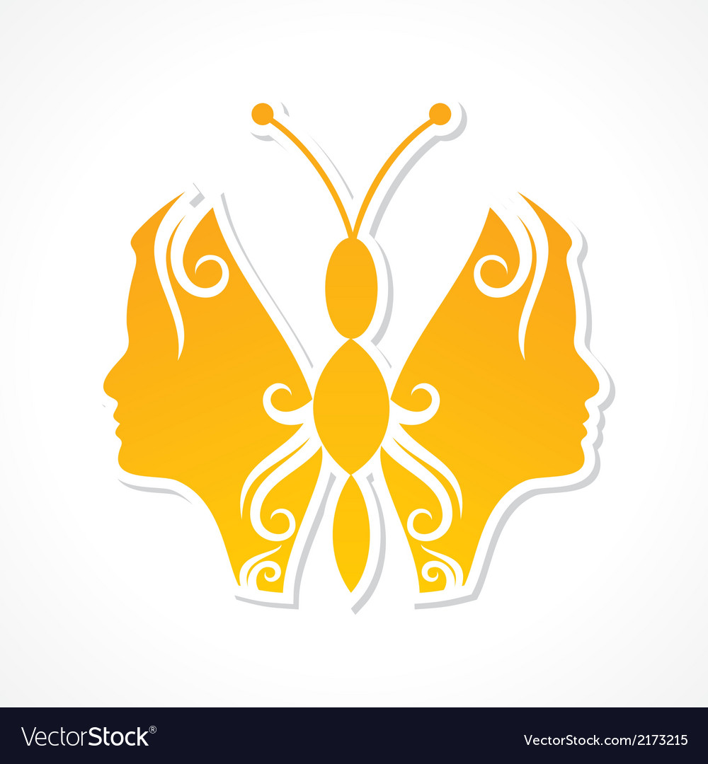 Creative woman face make a butterfly vector | Price: 1 Credit (USD $1)
