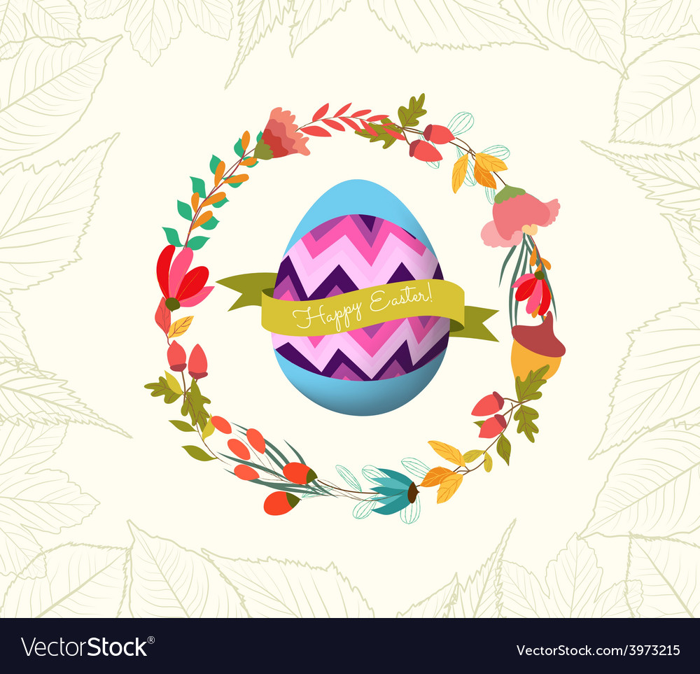 Happy easter with egg and wreath flower greeting vector | Price: 1 Credit (USD $1)