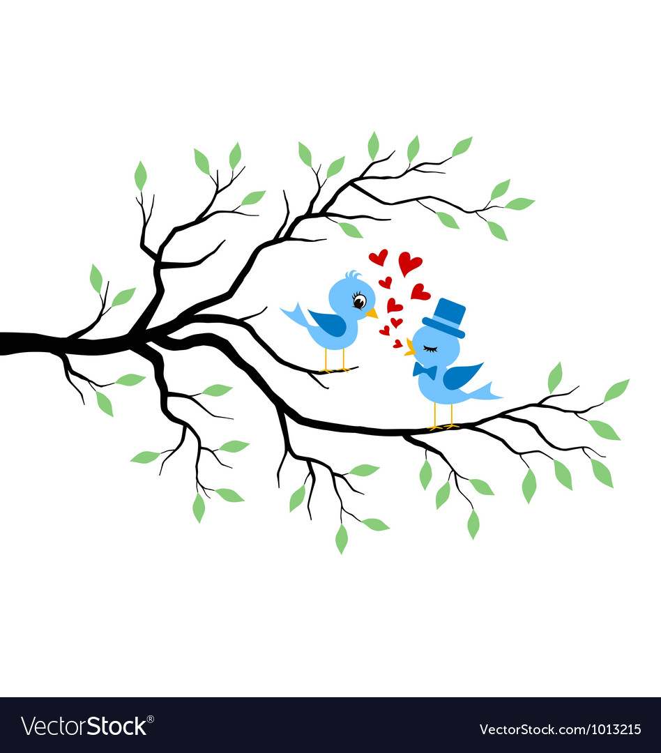 Kissing birds in love at branch vector | Price: 3 Credit (USD $3)