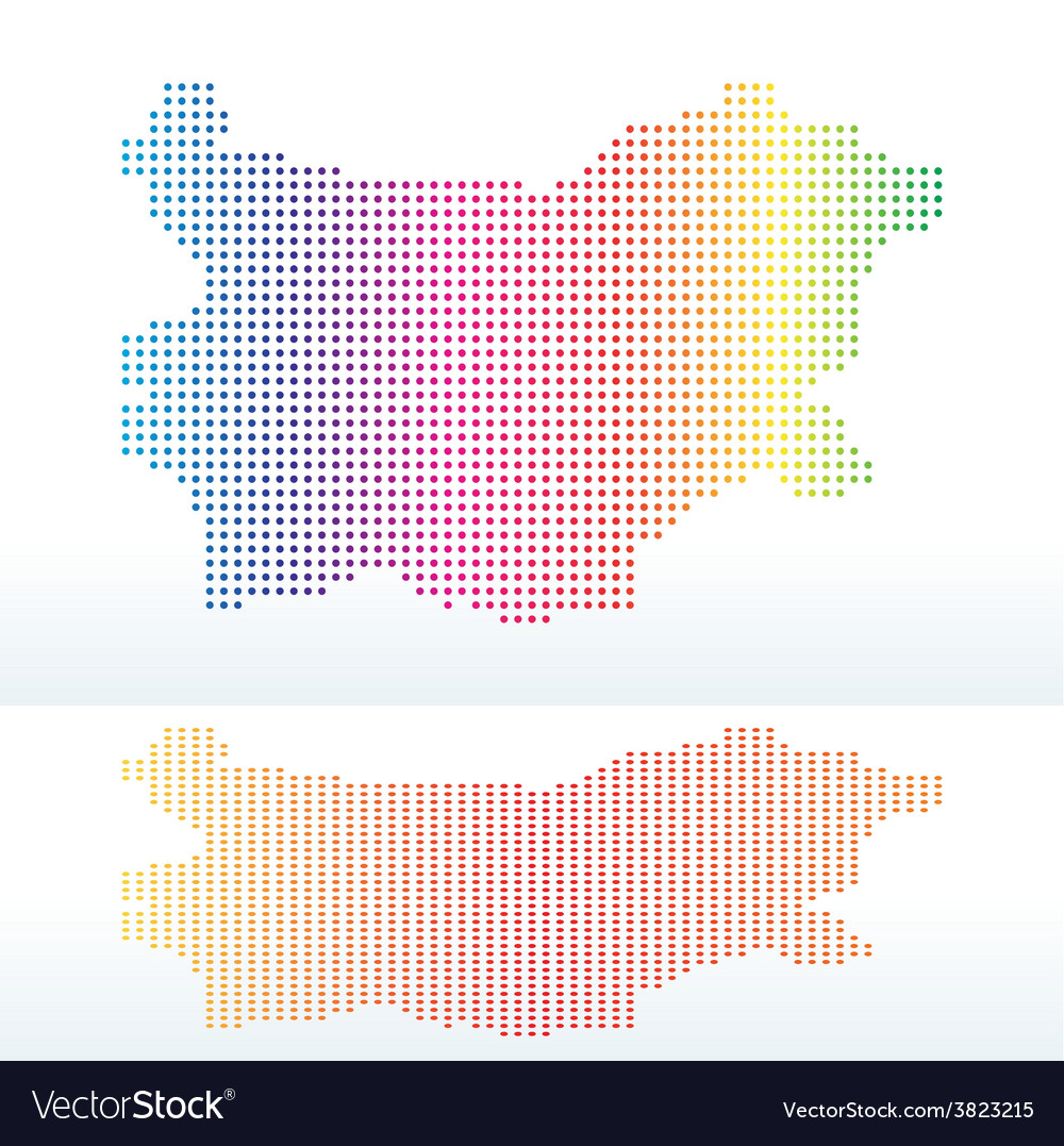 Map of republic of bulgaria with with dot pattern vector | Price: 1 Credit (USD $1)