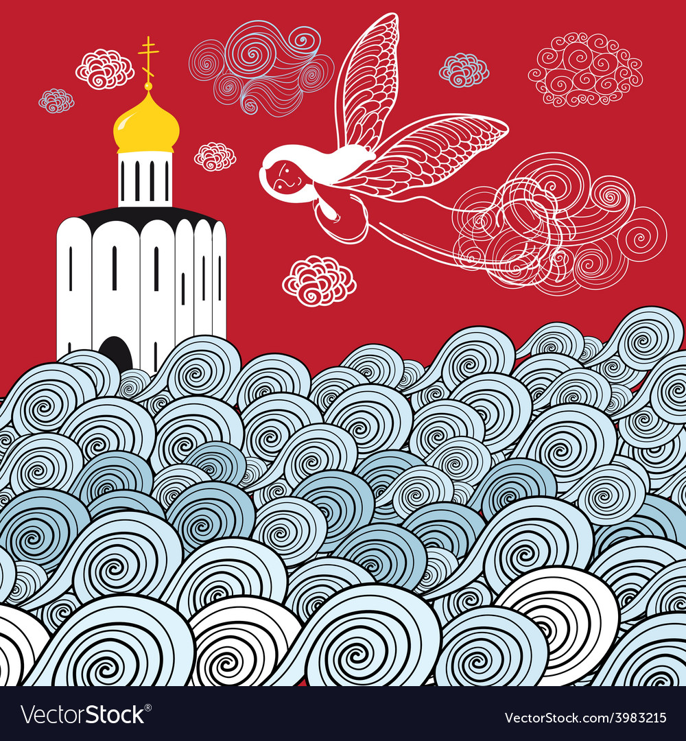 Orthodox church and the river of life vector | Price: 1 Credit (USD $1)