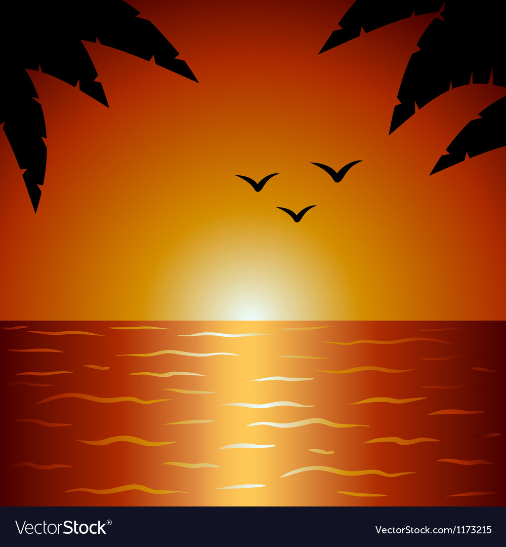 Palm and ocean vector | Price: 1 Credit (USD $1)