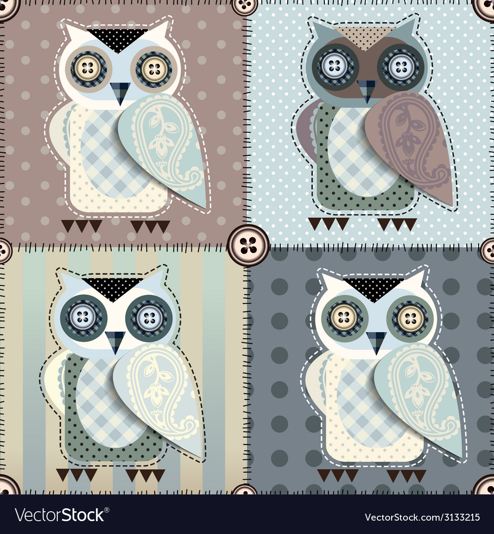 Patchwork with owls vector | Price: 1 Credit (USD $1)