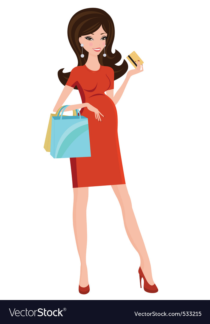 Pregnant beauty shopping vector   Price: 1 Credit (USD $1)