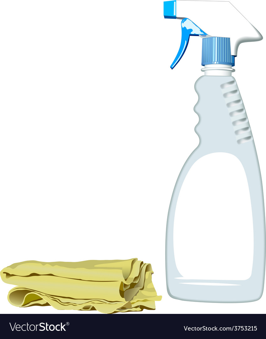Realistic spray bottle and rag for cleaning vector | Price: 1 Credit (USD $1)