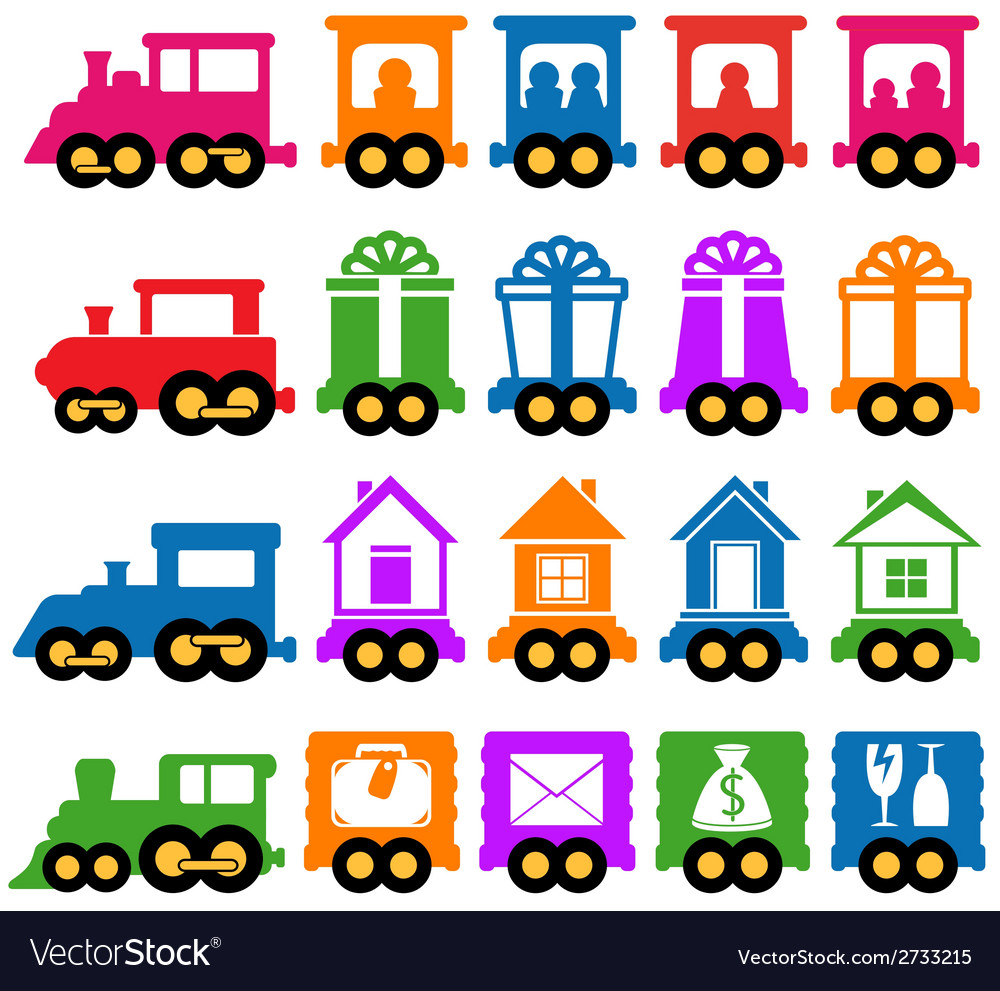 Set train - delivery services icons vector | Price: 1 Credit (USD $1)