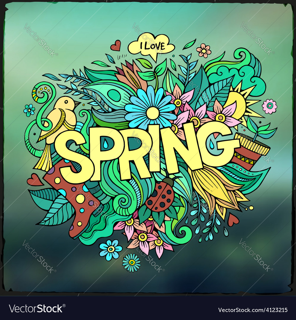 Spring hand lettering and doodles elements vector | Price: 3 Credit (USD $3)