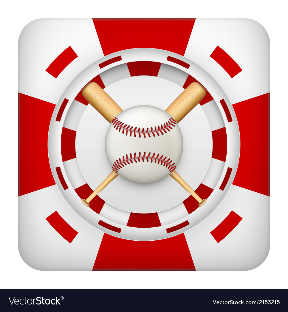 Square red casino chips of baseball sports betting vector | Price: 1 Credit (USD $1)