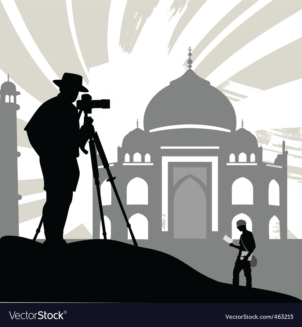 Tourist with historical temple vector | Price: 1 Credit (USD $1)