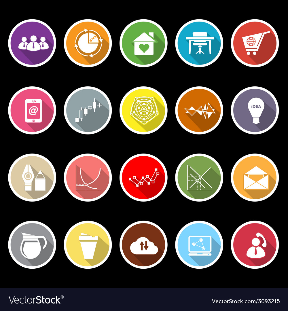 Virtual organization flat icons with long shadow vector | Price: 1 Credit (USD $1)
