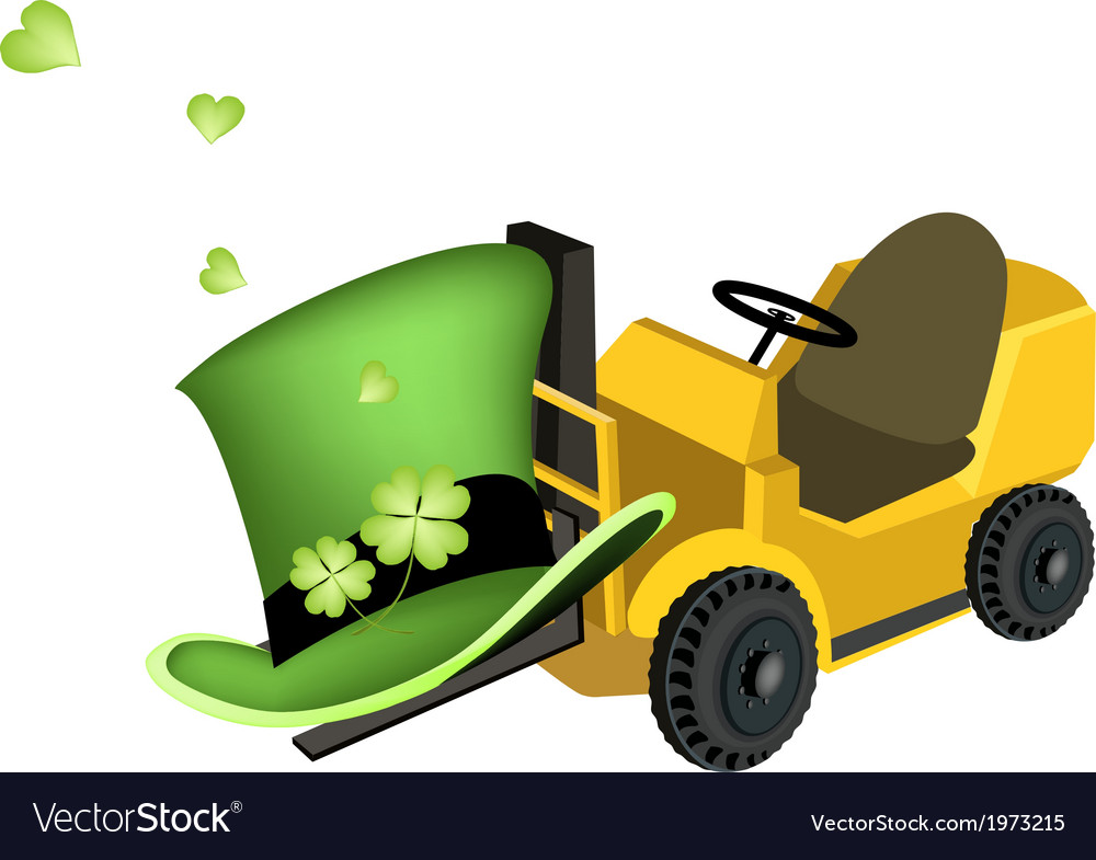 Yellow forklift truck loading four leaf clovers vector | Price: 1 Credit (USD $1)