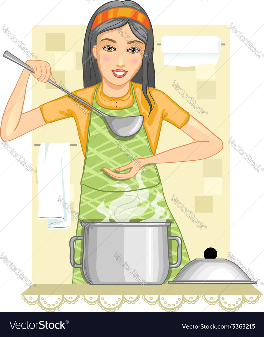Young woman tests food in the kitchen vector | Price: 3 Credit (USD $3)