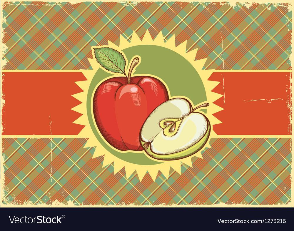 Apples vintage label on old paper vector | Price: 3 Credit (USD $3)