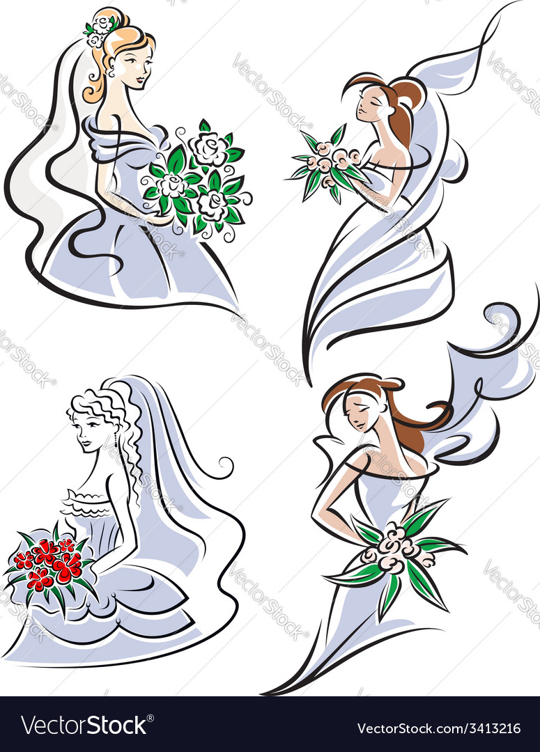 Bride holding bouquet of flowers vector | Price: 1 Credit (USD $1)