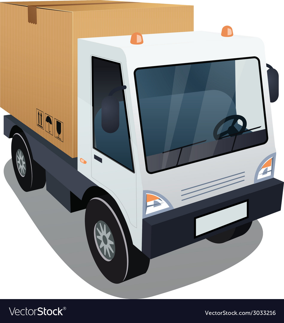 Delivery truck with a big box vector | Price: 1 Credit (USD $1)