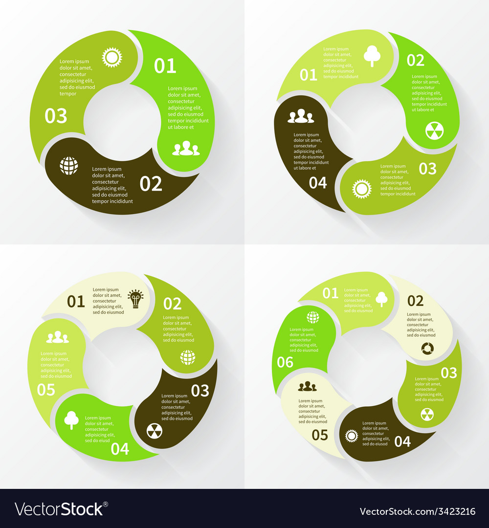 Eco infographic circle arrows 3 4 5 6 steps vector