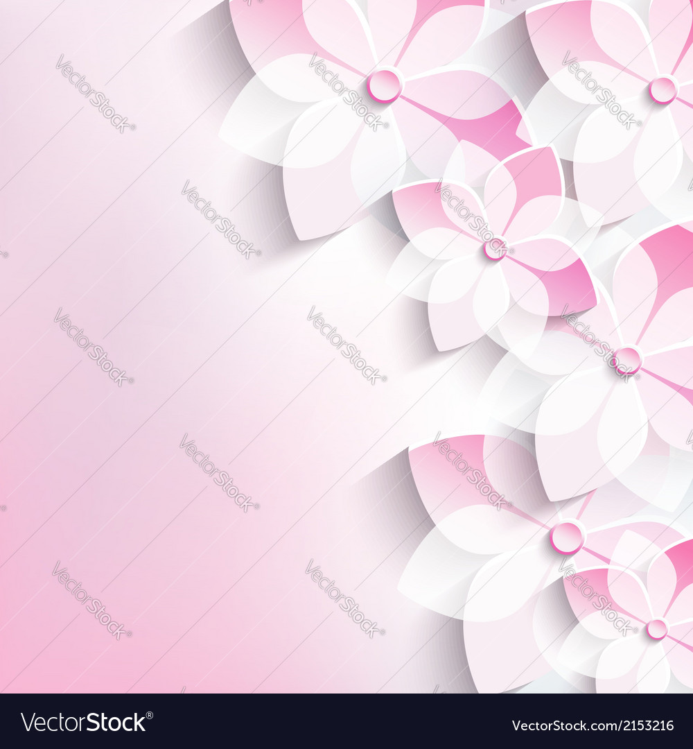 Floral background greeting card 3d flowers sakura vector | Price: 1 Credit (USD $1)