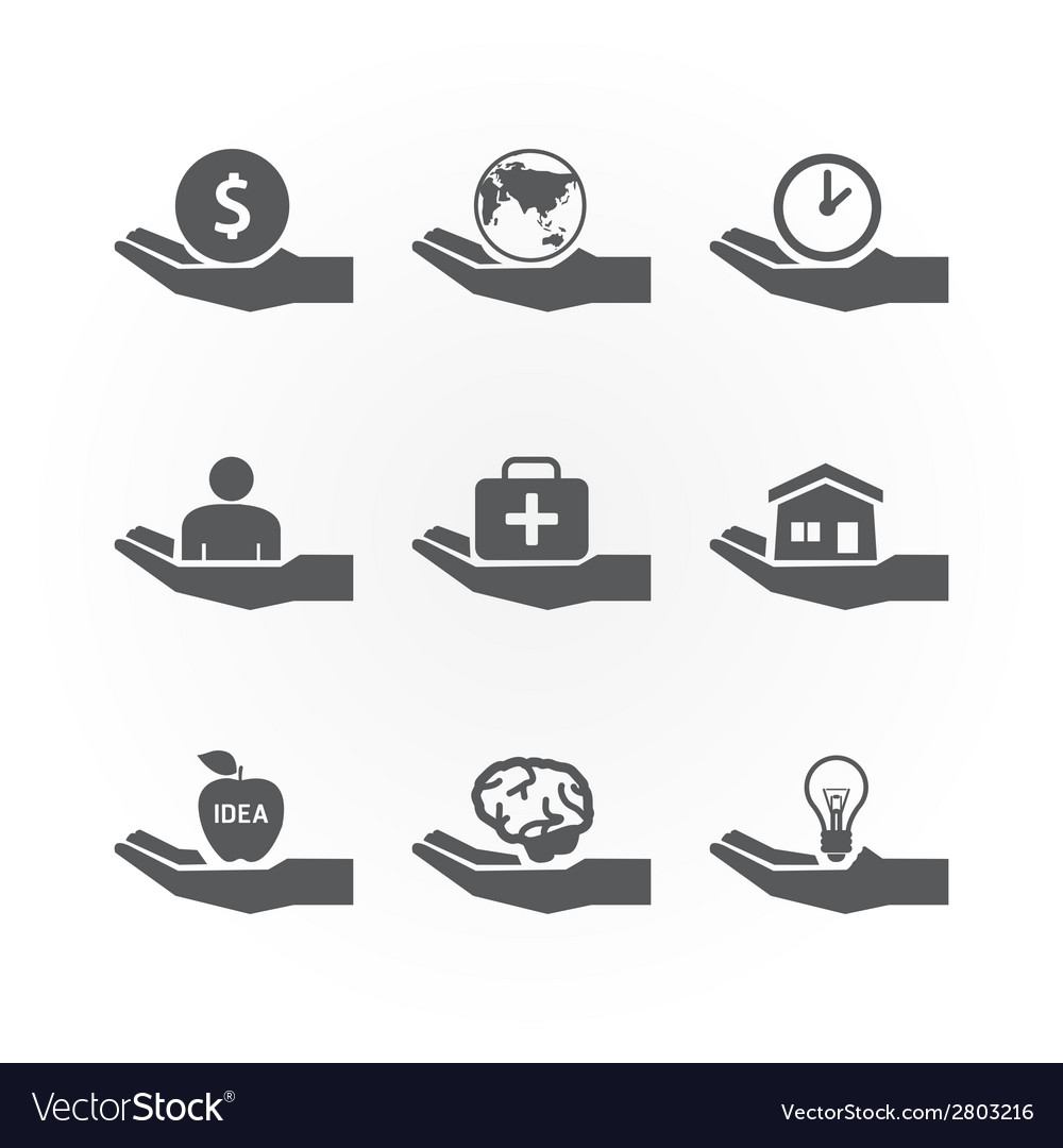 Hand icons saving concept design vector | Price: 1 Credit (USD $1)