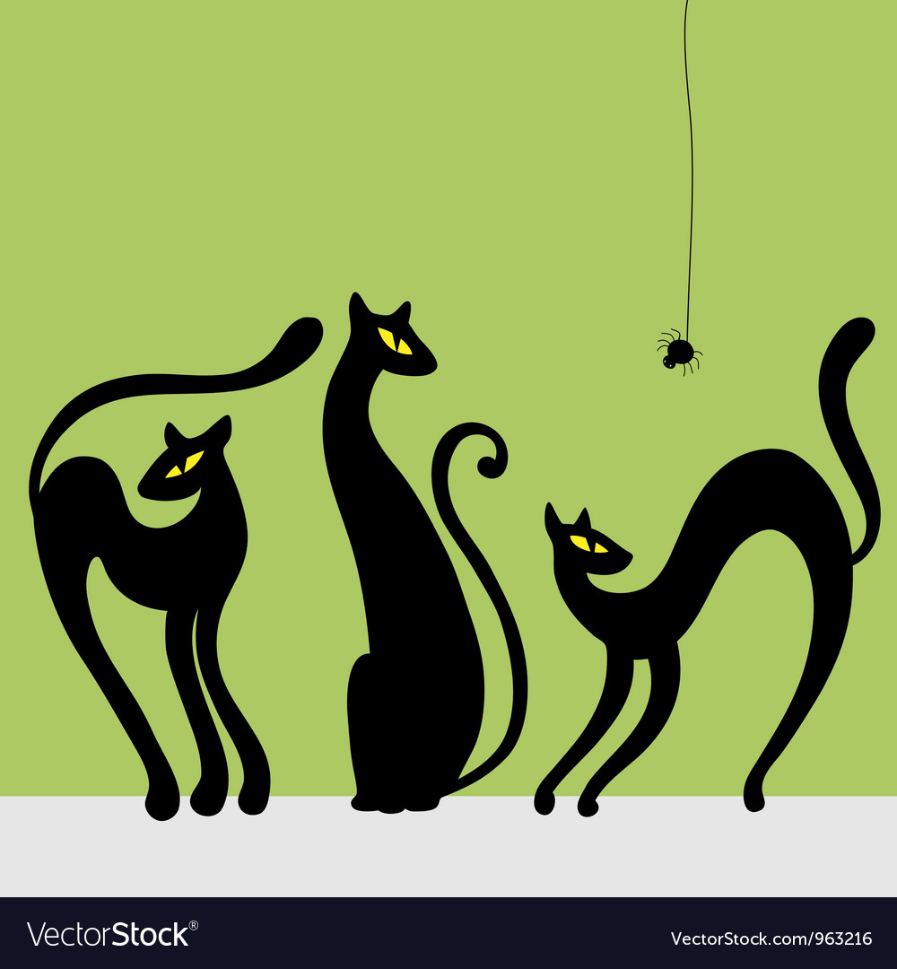 Set of black cat silhouettes vector | Price: 1 Credit (USD $1)