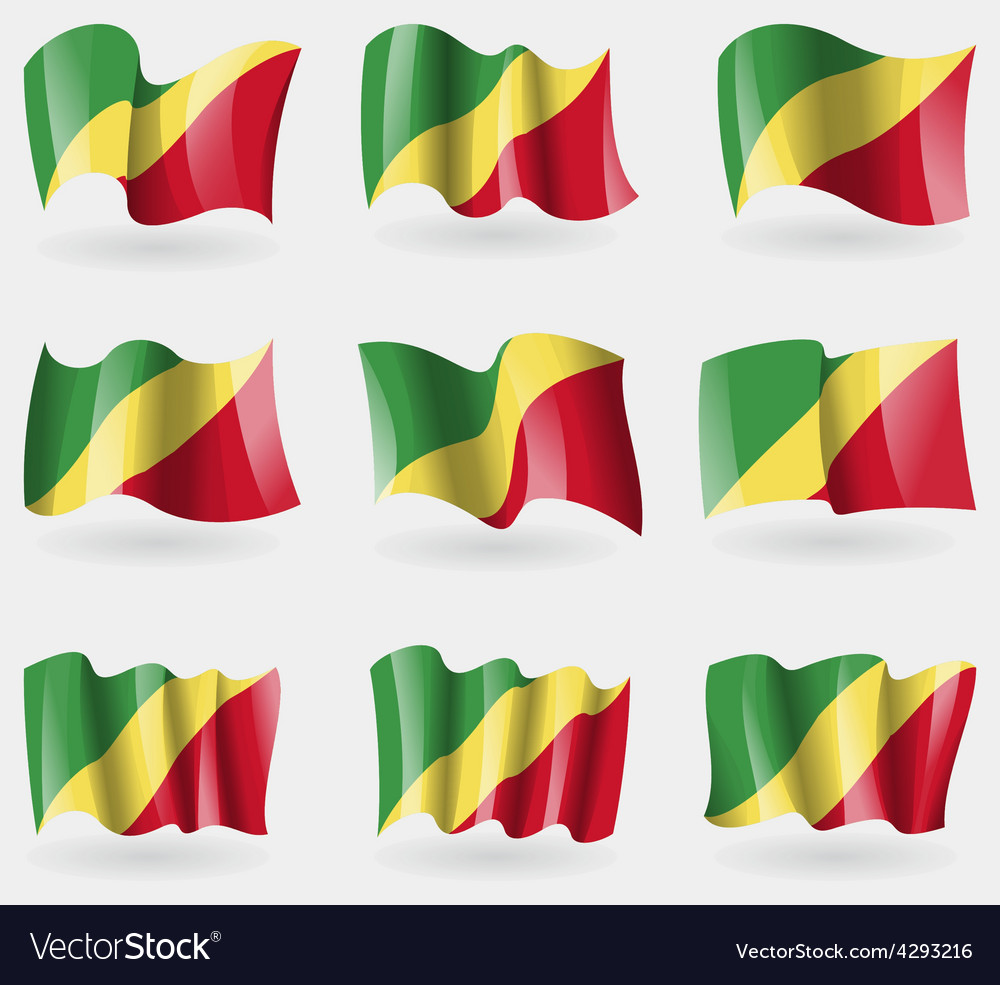 Set of congo republic flags in the air vector | Price: 3 Credit (USD $3)