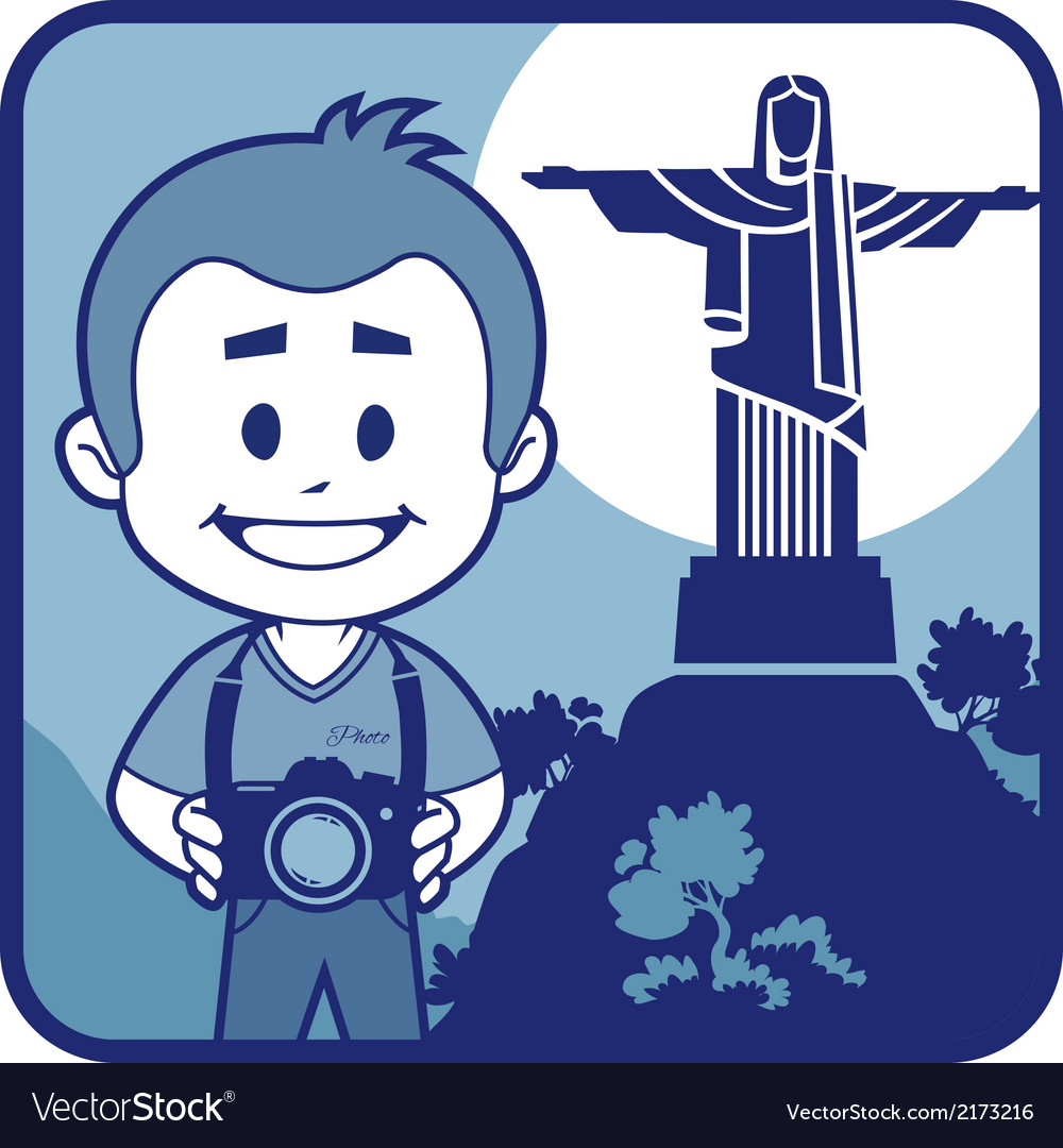 Teaser with photographer travels through brazil vector | Price: 1 Credit (USD $1)