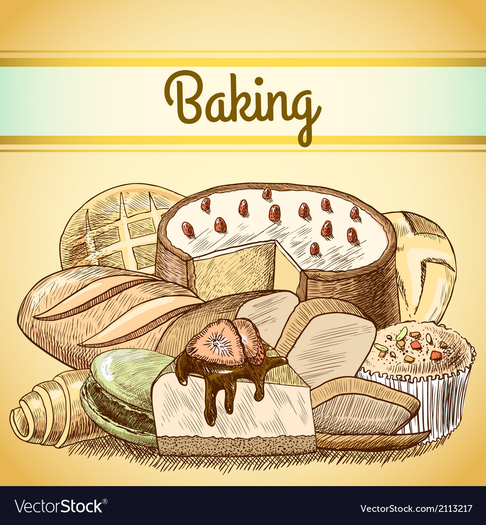 Baking pastry background template vector | Price: 1 Credit (USD $1)