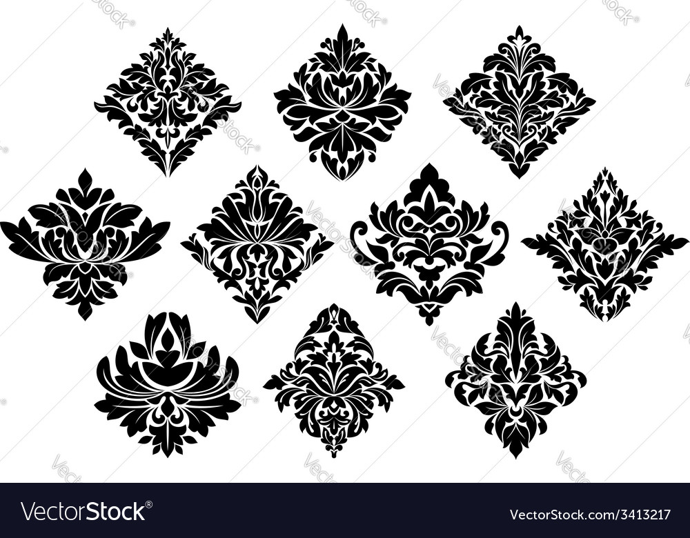 Black and white damask arabesque elements vector | Price: 1 Credit (USD $1)