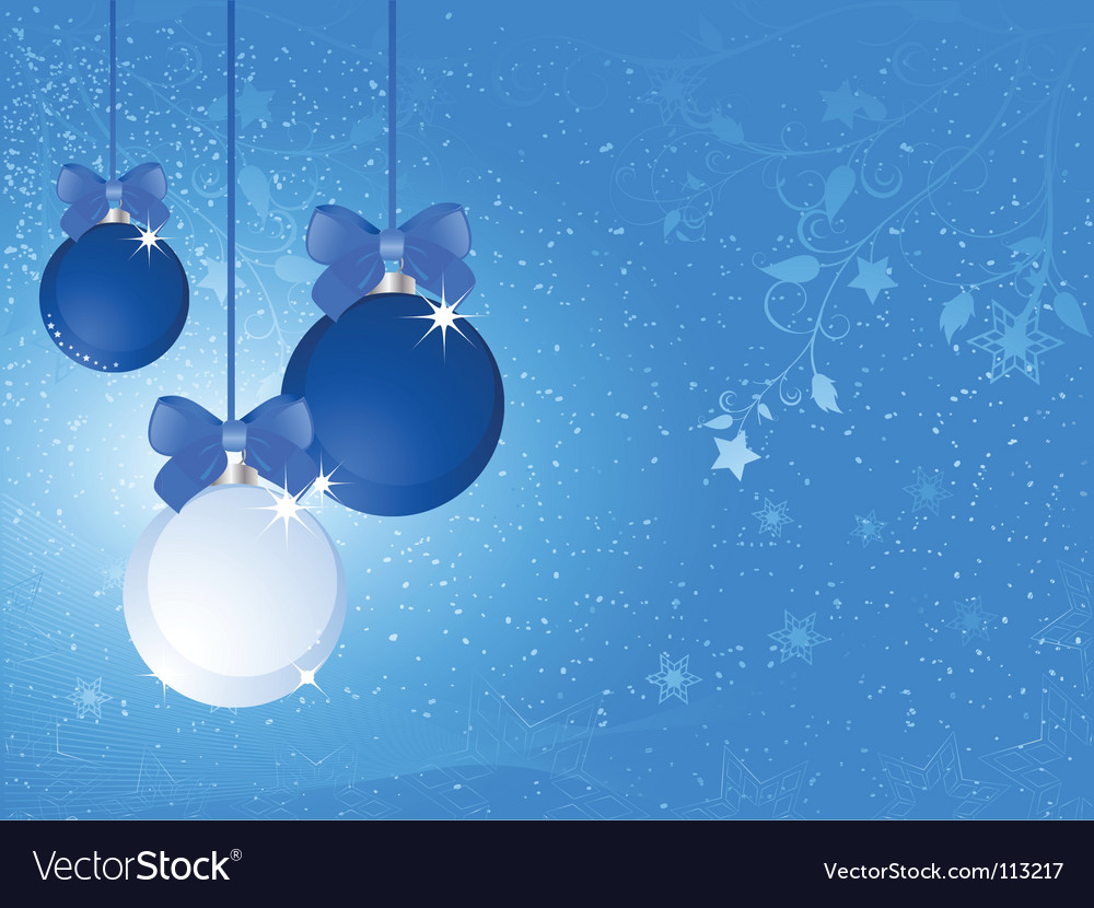 Blue and white christmas baubles vector | Price: 1 Credit (USD $1)