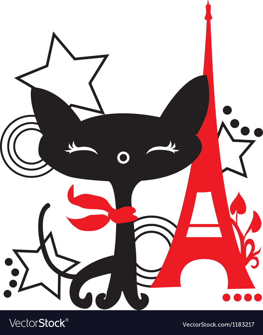 Cat silhouette in france vector | Price: 1 Credit (USD $1)