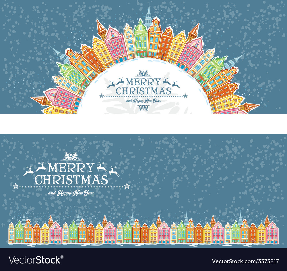 Christmas cards with snowy old town vector | Price: 1 Credit (USD $1)