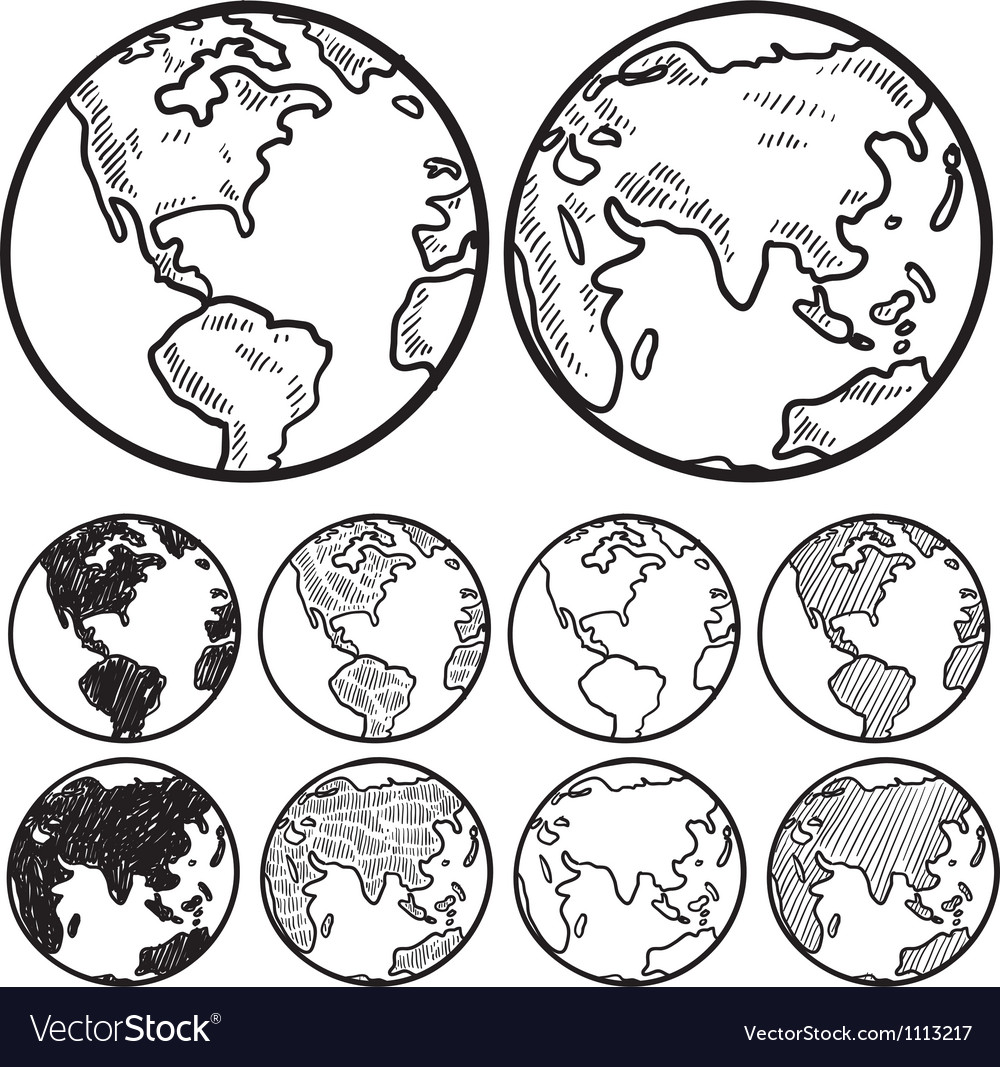 Doodle globe earth vector | Price: 1 Credit (USD $1)