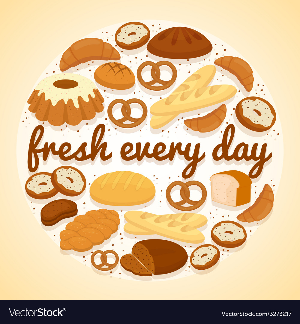 Fresh every day bakery label vector | Price: 1 Credit (USD $1)