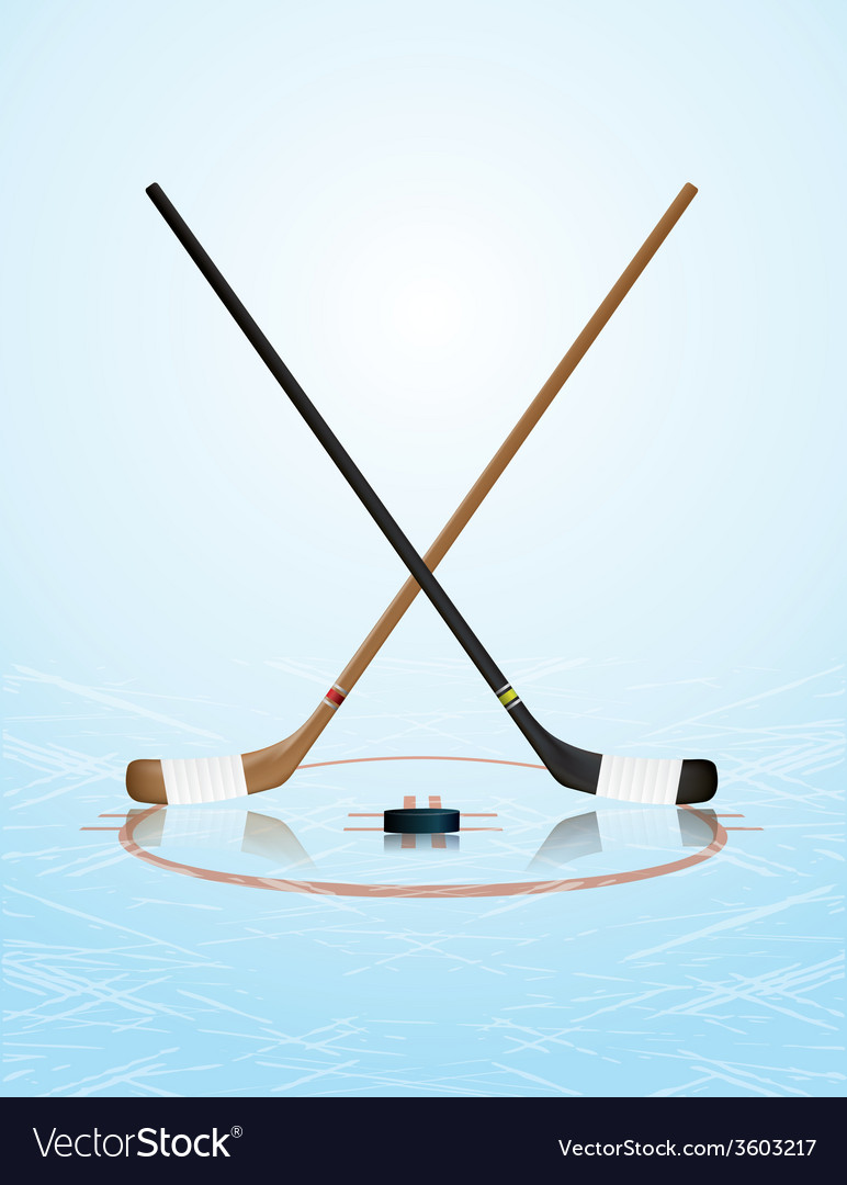 Ice hockey sticks puck on ice rink vector | Price: 1 Credit (USD $1)
