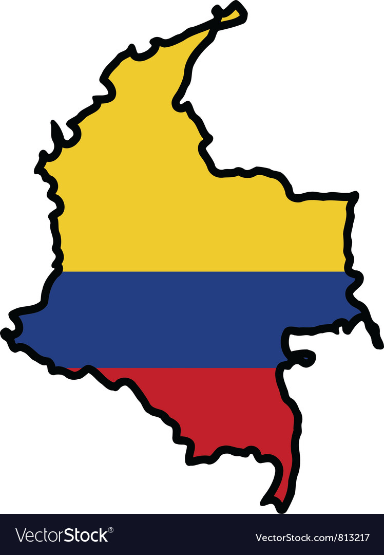 Map in colors of colombia vector | Price: 1 Credit (USD $1)