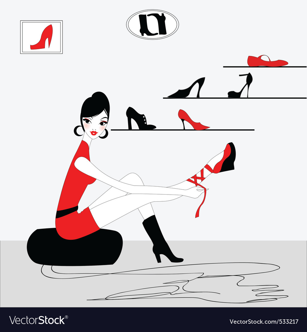 Shoe shopping vector | Price: 1 Credit (USD $1)