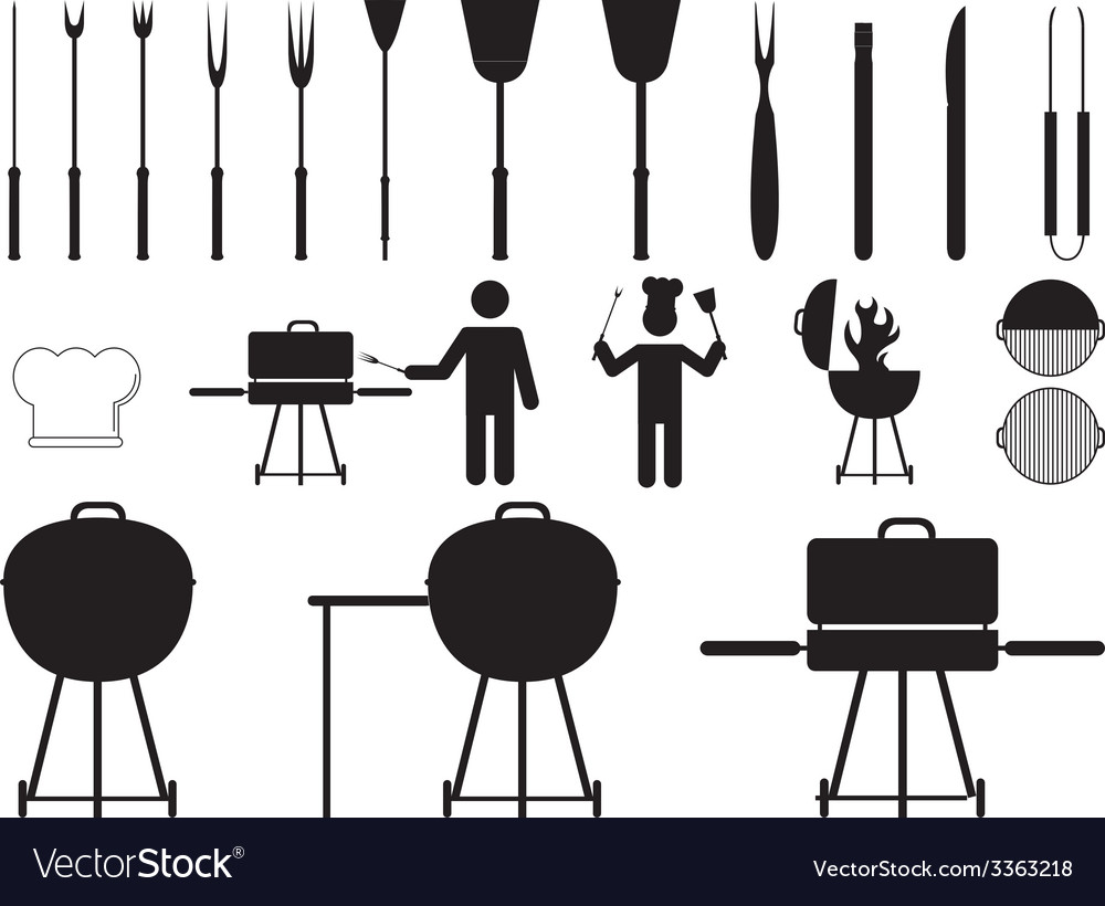 Barbecue grill and tools vector | Price: 1 Credit (USD $1)