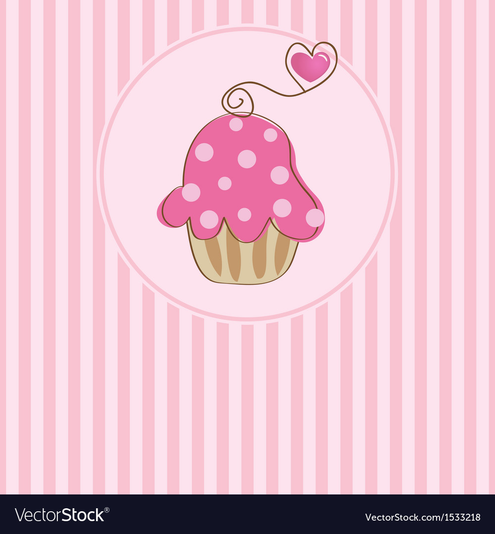 Cute background with small cupcake vector | Price: 1 Credit (USD $1)
