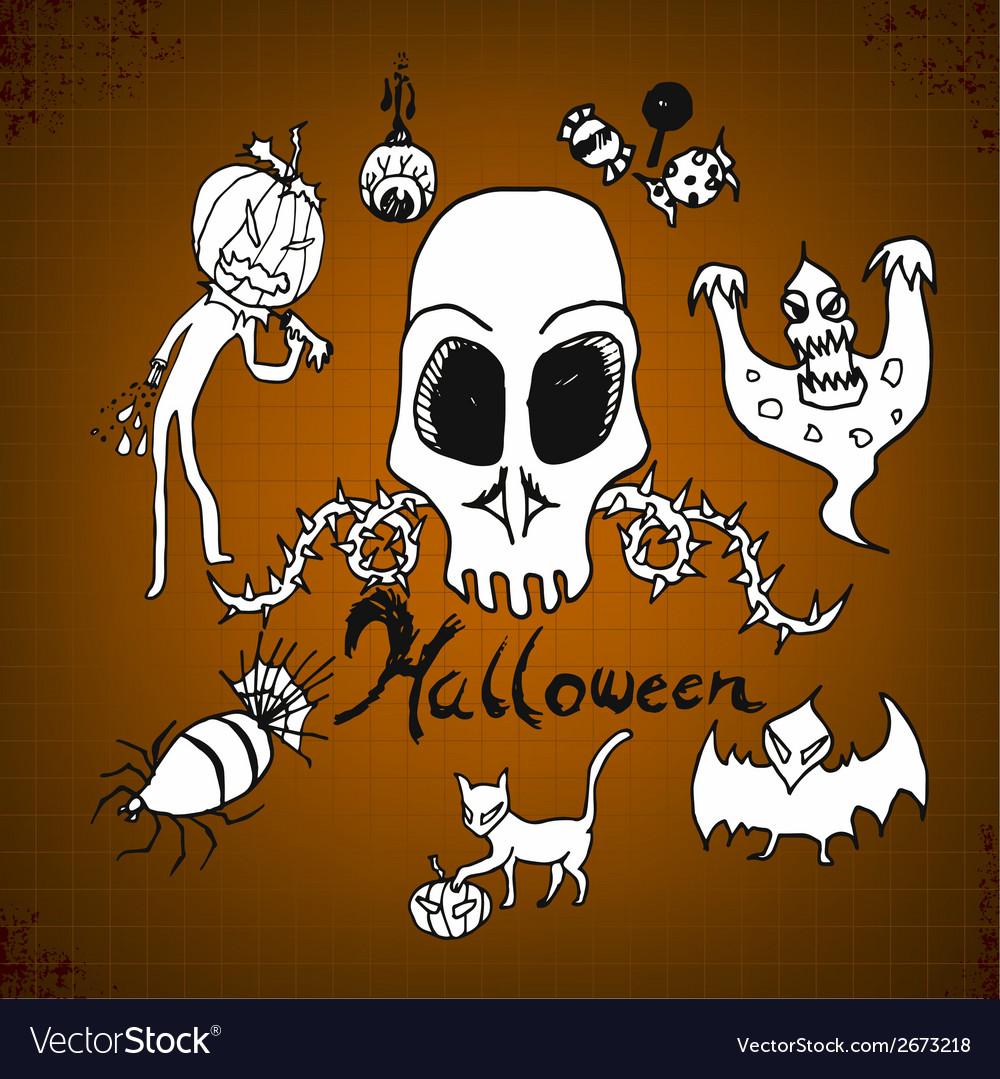 Doodles halloween on paper vector | Price: 1 Credit (USD $1)