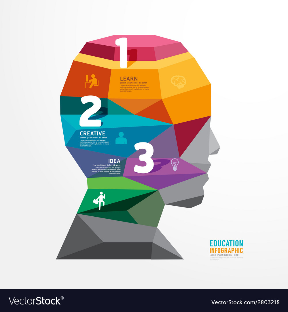 Geometric head design infographic template vector | Price: 1 Credit (USD $1)